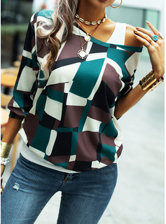 Print One Shoulder Long Sleeves Casual T-shirt