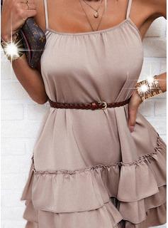 Solid Ruffles A-line Sleeveless Mini Casual Elegant Skater Type Dresses