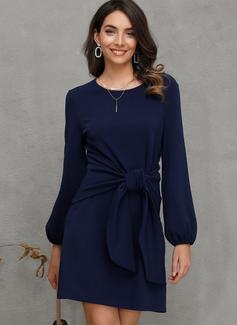 Solid Kjole med A-linje Lantern ærmer Lange ærmer Mini Casual skater Mode kjoler