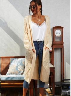 Lässige Kleidung Lange Einfarbig Zopfmuster Taschen Pullover