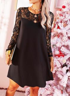 Spets Solid Shiftklänningar Långa ärmar Midi Den lilla svarta Elegant Tunika Modeklänningar