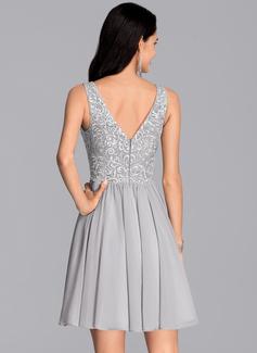 A-Line V-neck Short/Mini Chiffon Cocktail Dress With Sequins