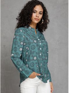 Wydrukować Długie rękawy Poliester Litera V Koszula Bluzki Bluzki