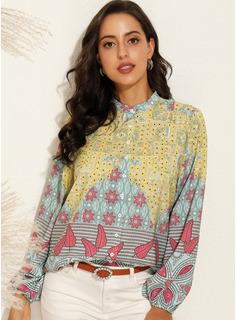 Print Lange ærmer Polyester V-hals Shirt Skjorter Bluser