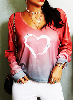 Tie Dye Print V-Neck Long Sleeves Casual T-shirt