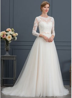 Ball-Gown/Princess Illusion Court Train Tulle Wedding Dress With Bow(s)