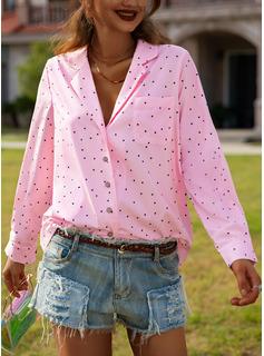 PolkaDot Print Lapel Long Sleeves Button Up Casual Shirt Blouses