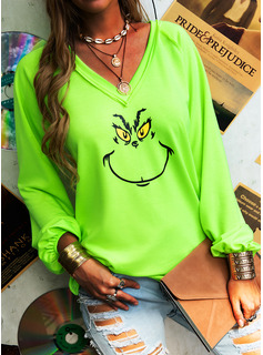 Animal Print V-Neck Long Sleeves Casual Christmas T-shirt