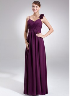 Empire Sweetheart Floor-Length Chiffon Maternity Bridesmaid Dress With Ruffle Flower(s)