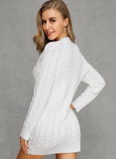 Punto De Cable Punto grueso Sólido poliéster Cuello en V Suéter Vestidos De Suéter Suéteres
