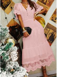 Renda Sólido Decote em V Manga Curta Maxi Vestidos na Moda