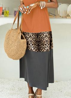 Leopard Color Block Shift Short Sleeves Maxi Casual Vacation Dresses