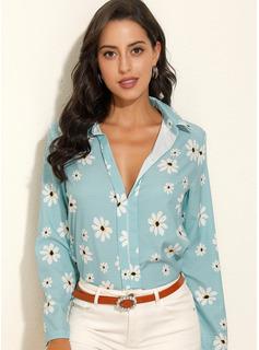 Impresión Floral Manga larga poliéster Solapa Camisas Blusas Blusas