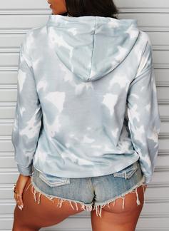Impresión Tie Dye Víspera de Todos los Santos Manga Larga Sudadera Con Capucha