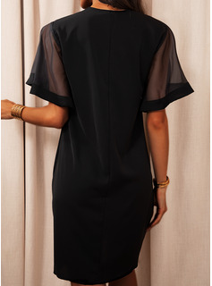 Lace Solid Shift Short Sleeves Midi Casual Tunic Dresses