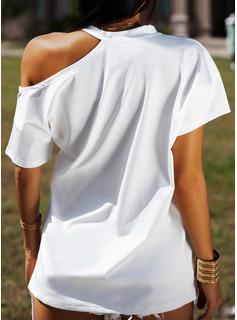 Print One-Shoulder Korte ærmer Casual Skjorter