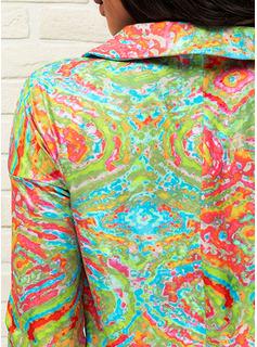 Print Lapel Long Sleeves Casual Blouses