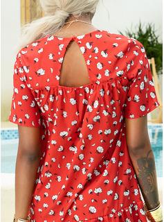 Fleurie Imprimé Coupe droite Manches Courtes Midi Décontractée Vacances T-shirt Robes tendance