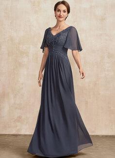Трапеция V-образный Длина до пола шифон Кружева Платье Для Матери Невесты с Рябь развальцовка