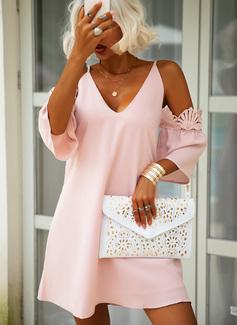 Spets Solid Shiftklänningar 3/4 ärmar Kall axel Mini Fritids Elegant Tunika Modeklänningar