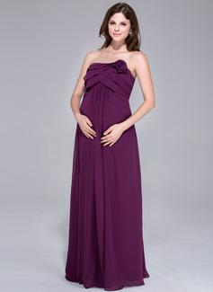 Robe Empire Sans bretelle Longueur ras du sol Mousseline Robe de demoiselle d'honneur - enceinte avec Fleur(s) Robe à volants