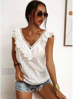 Lace Solid Sleeveless Cotton Blends V Neck Tank Tops Blouses