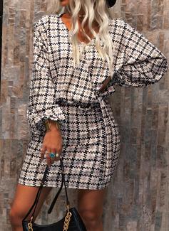 印刷 ボディコンドレス 長袖 ミニ エレガント ラップ ファッションドレス