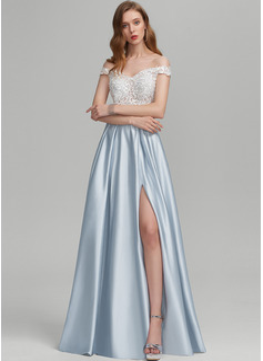 Corte A Fuera del hombro Hasta el suelo Satén Vestido de novia con Cuentas Lentejuelas Apertura frontal Bolsillos