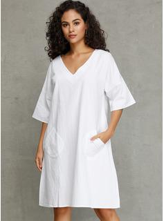 knælange V-hals Linned Solid 1/2 Ærmer Mode kjoler