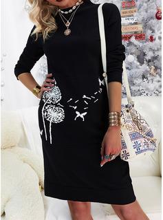 Animal Print Shift Long Sleeves Midi Casual Tunic Dresses