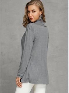 Jednolity Bawełna Dekolt w kształcie litery V Pulower Swetry