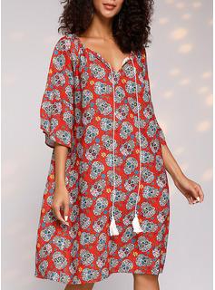Print Skiftekjoler Lange ærmer Midi Casual Tunika Mode kjoler