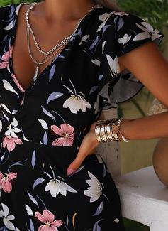 Floral Imprimeu Bir Çizgi Mâneci Scurte Midi gündelik Tatil Patenci Moda Elbiseler