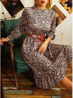 Leopard A-Linien-Kleid Lange Ärmel Midi Lässige Kleidung Skater Modekleider