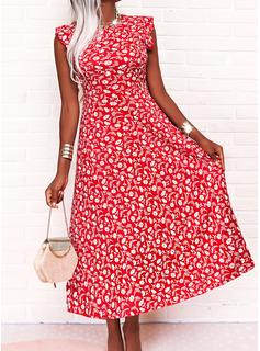 Floral Impresión Vestido línea A Sin mangas Midi Casual Patinador Vestidos de moda