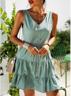 Solid Kjole med A-linje Ærmeløs Mini Casual Ferie skater Mode kjoler