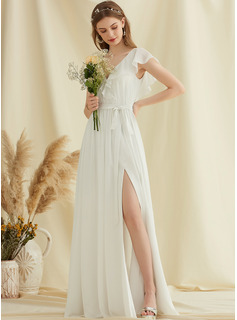 A-Line V-neck Floor-Length Chiffon Wedding Dress With Split Front Cascading Ruffles