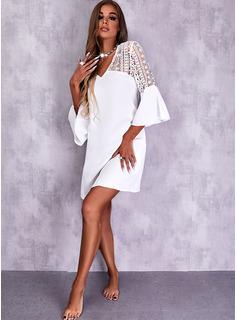 Sólido Vestidos sueltos Mangas 3/4 Midi Elegante Vestidos de moda