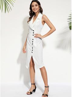 A righe A trapezio Senza maniche Midi Casuale Elegante Vestiti di moda