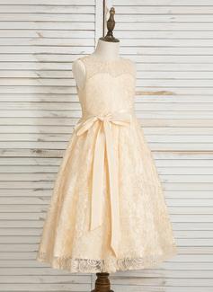 Forme Princesse Longueur mollet Robes à Fleurs pour Filles - Dentelle Sans manches Col rond avec À ruban(s)/Trou noir