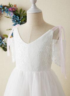 A-Line Floor-length Flower Girl Dress - Tulle/Lace Short Sleeves V-neck
