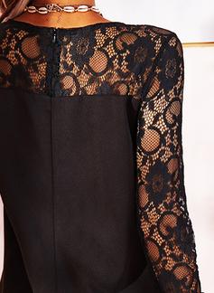 Dantel Solid Shift Elbiseleri Mâneci Lungi Midi Negre Zarif Tunică Moda Elbiseler