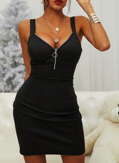 Solid Conică Kolsuz Mini Negre gündelik Sexy Întreg Moda Elbiseler