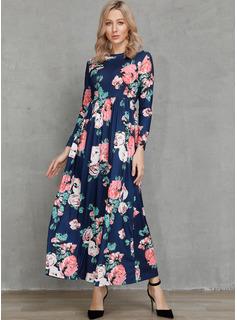 Maxi Rundhals Polyester 3/4 Ärmel Blumen Modekleider