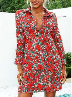Floreale Stampa Abiti dritti Maniche lunghe Mini Casuale Vestiti di moda