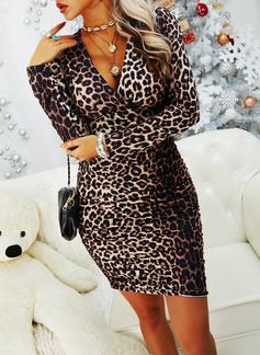 Leopard Bodycon Lange ermer Mini Sexy Motekjoler