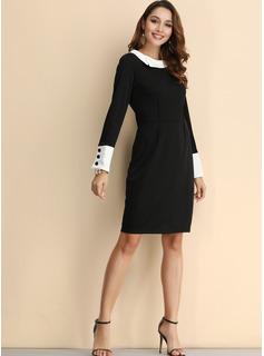 Solid Bodycon Lange ærmer Midi Casual Elegant Blyant Mode kjoler
