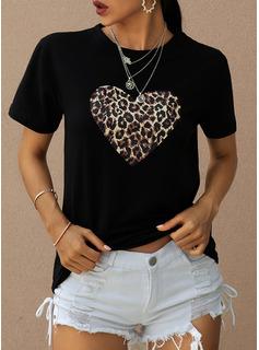 Impresión Manga corta poliéster Cuello redondo camiseta Blusas