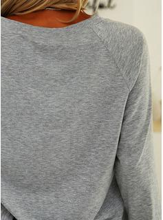 Stampa Scollatura a V Maniche lunghe Casuale Reggiseno Tshirt
