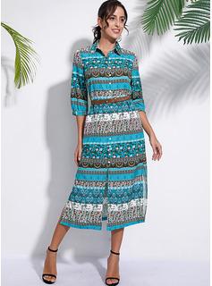 Maxi V neck Polyester Button/Print/Slit 1/2 Sleeves Fashion Dresses